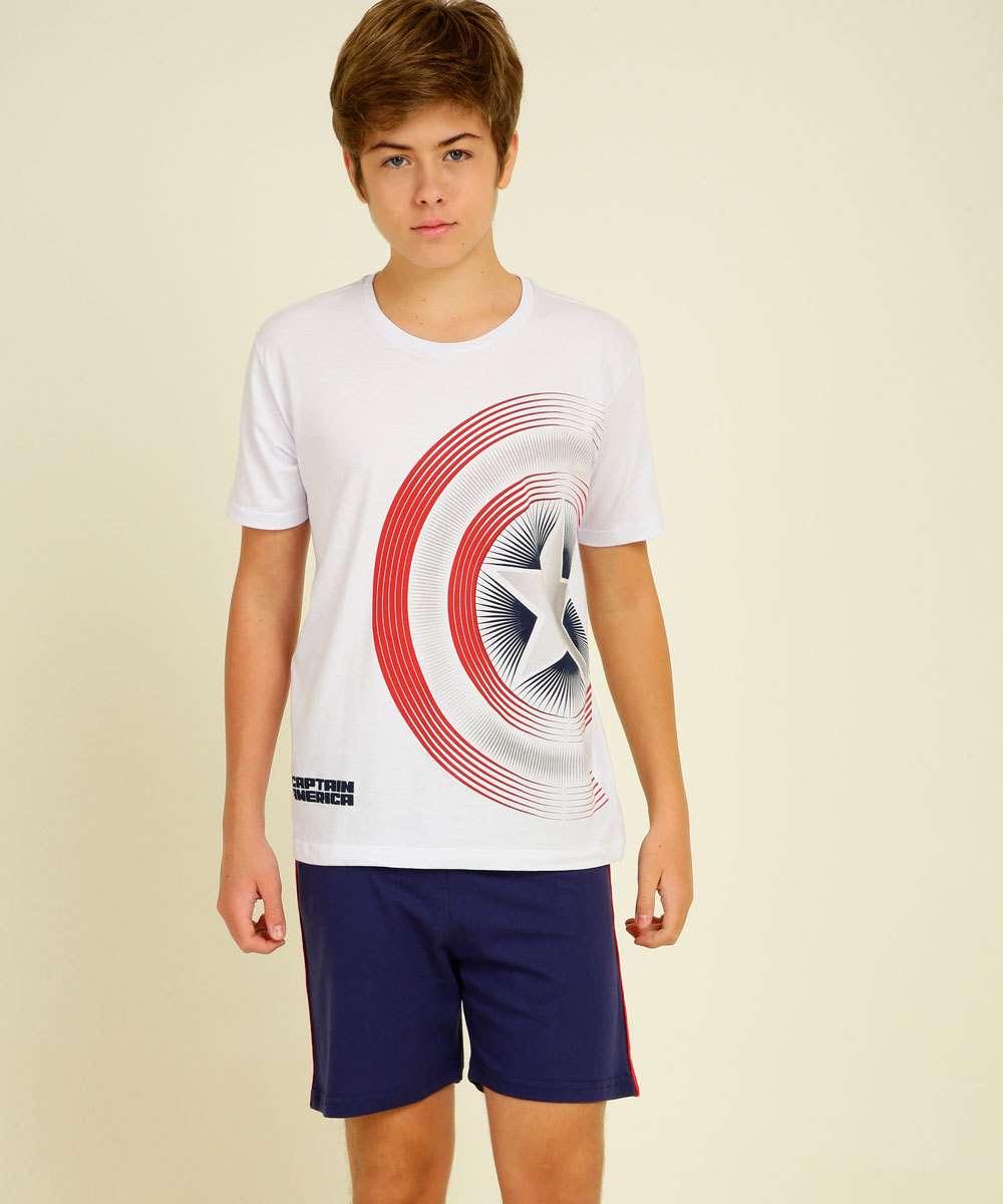 Pijama Juvenil Capitão América Marvel Tam 10 a 16