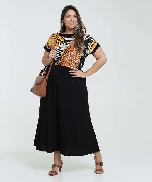 Image_Vestido Feminino Longo Recote Estampa Folhas Plus Size