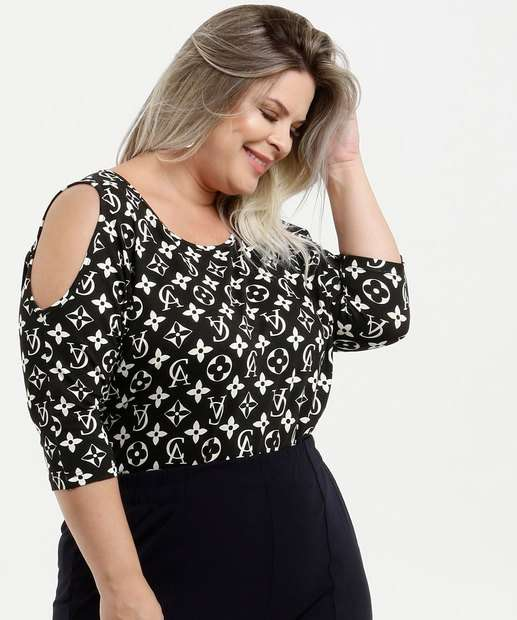 Image_Blusa Feminina Open Shoulder Estampada Manga 7/8 Plus Size