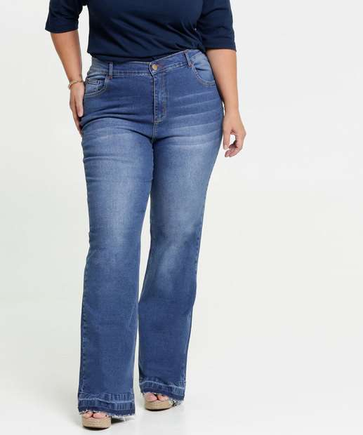 Image_Calça Jeans Flare Feminina Barra Desfiada Plus Size Marisa