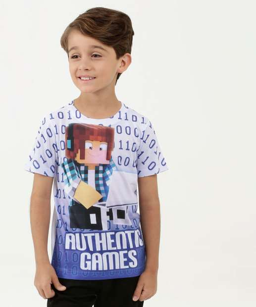 Image_Camiseta Infantil Estampa Minecraft Manga Curta Authentic Games