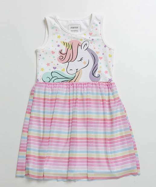 Image_Vestido Infantil Listrado Estampa Unicórnio Marisa