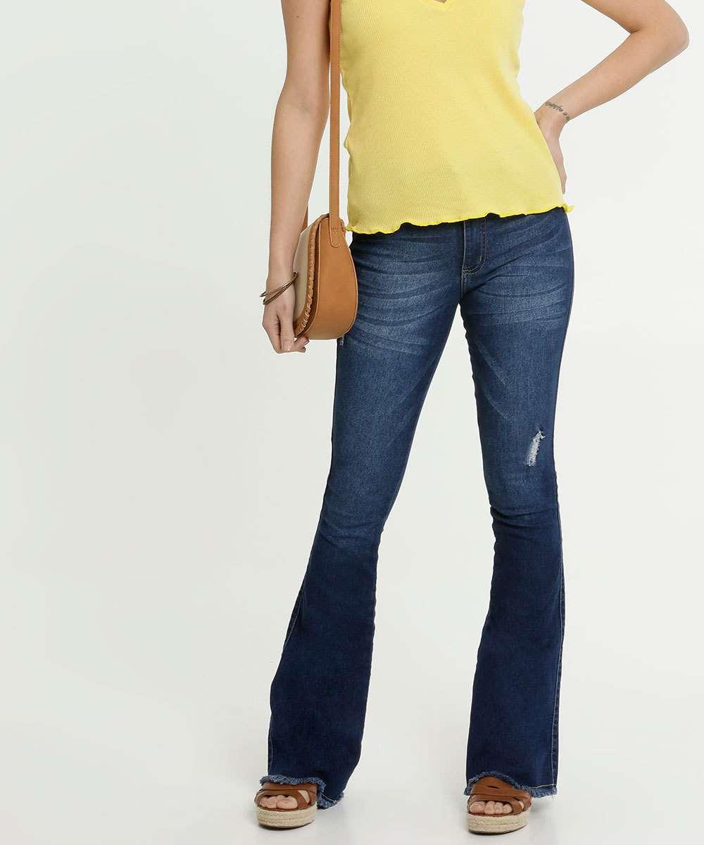 Calça Jeans Flare Feminina Puídos Biotipo