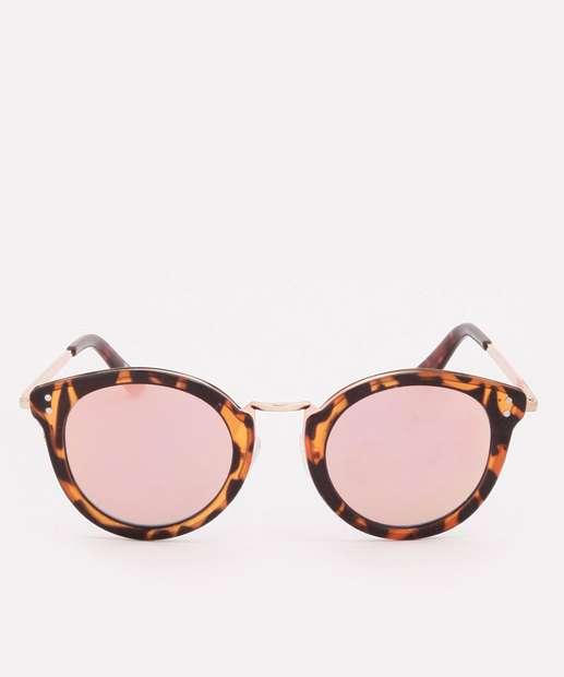 Image_Óculos de Sol Feminino Redondo Animal Print Marisa