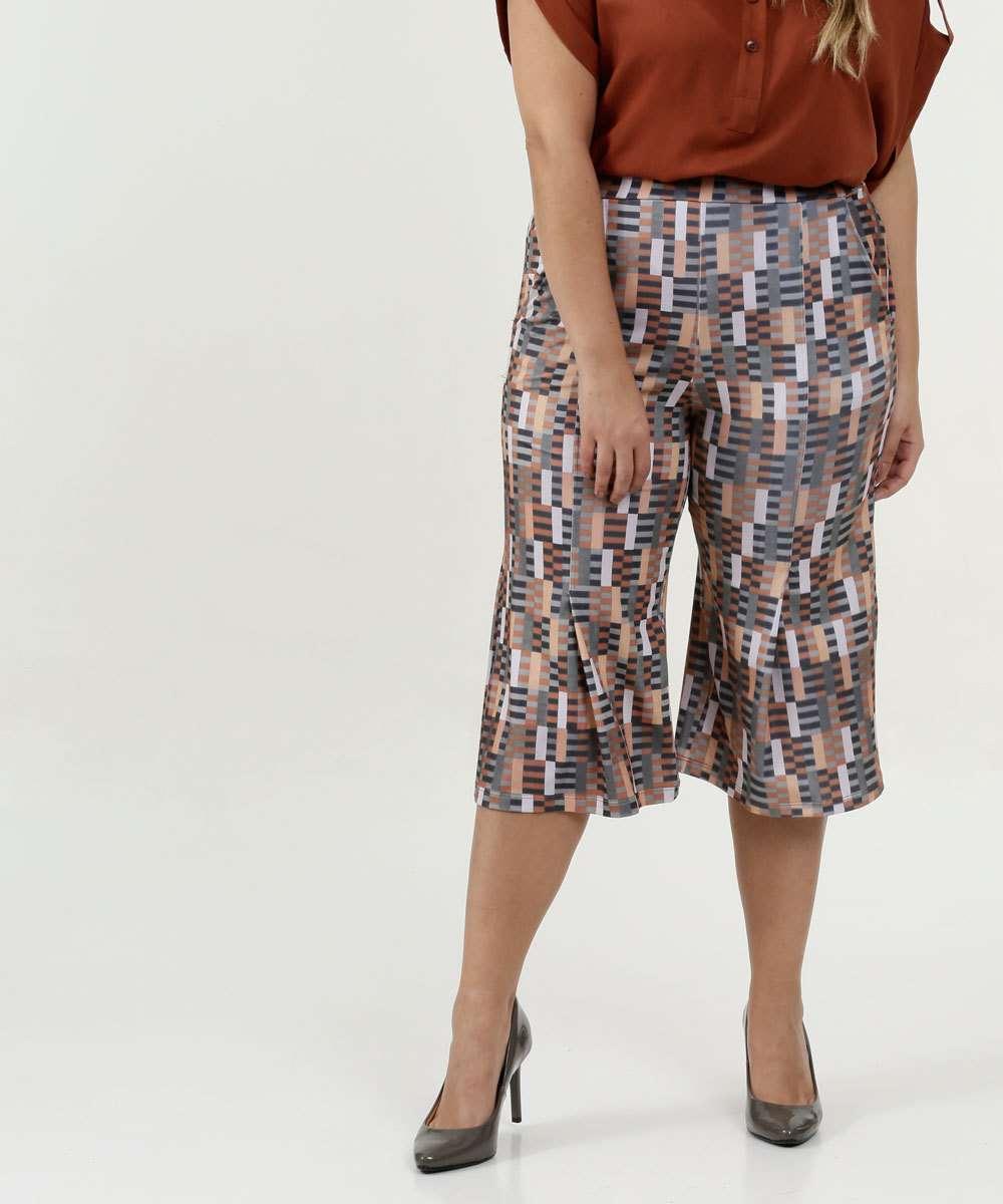 Calça Feminina Pantcourt Estampa Geométrica Plus Size
