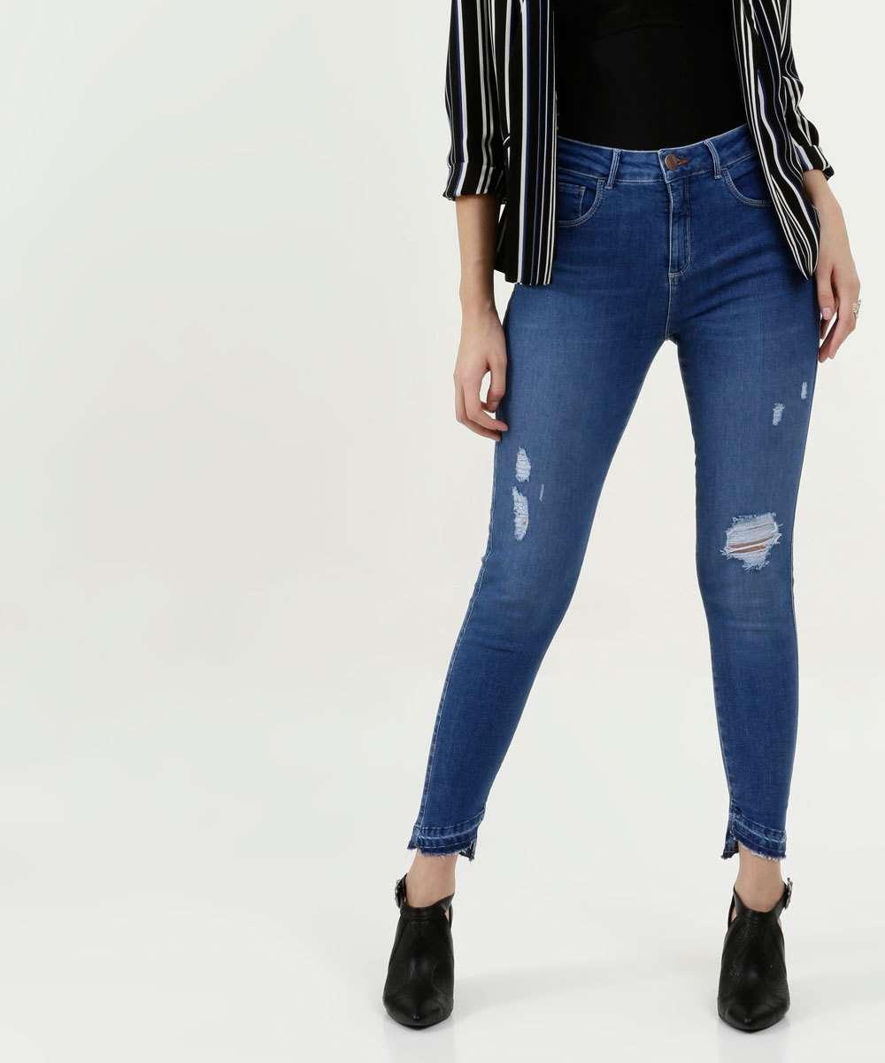 Calça Feminina Jeans Puídos Cigarrete Marisa