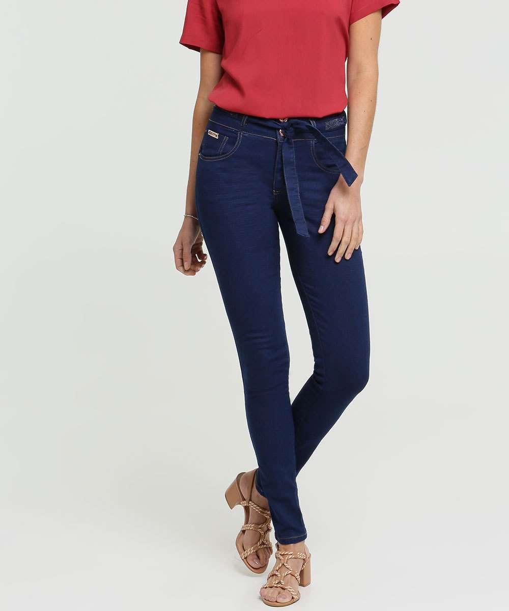 Calça Jeans Skinny Feminina Amarração Strass  Biotipo