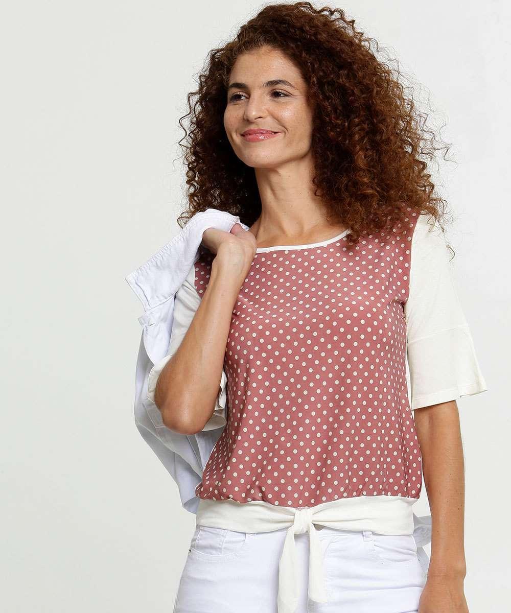 Blusa Feminina Estampa Bolinhas Manga Curta