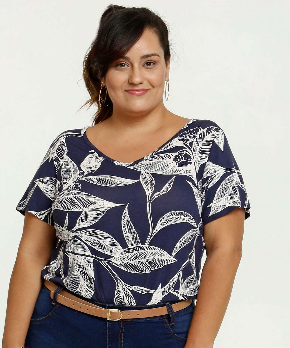 Blusa Feminina Estampa Tropical Plus Size Marisa