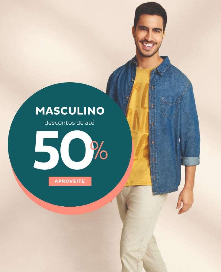 Masculino com desconto de até 50%