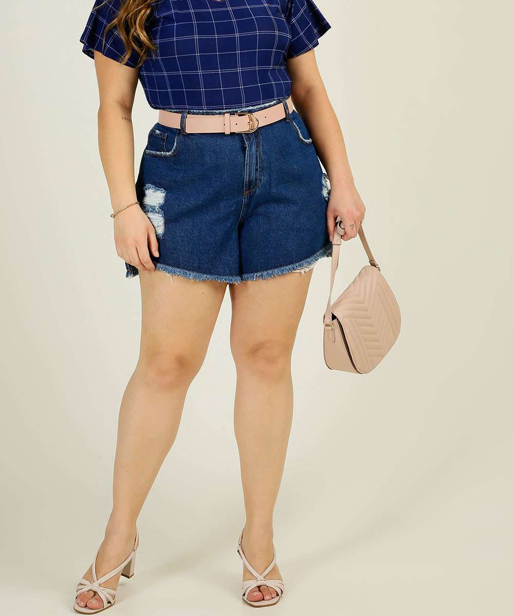Short Plus Size Feminino Jeans Destroyed Marisa