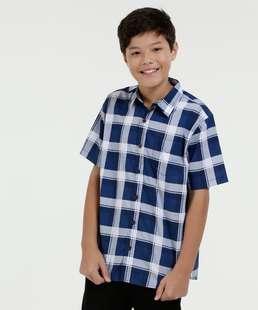 Camisa Juvenil Estampa Xadrez Manga Curta Marisa