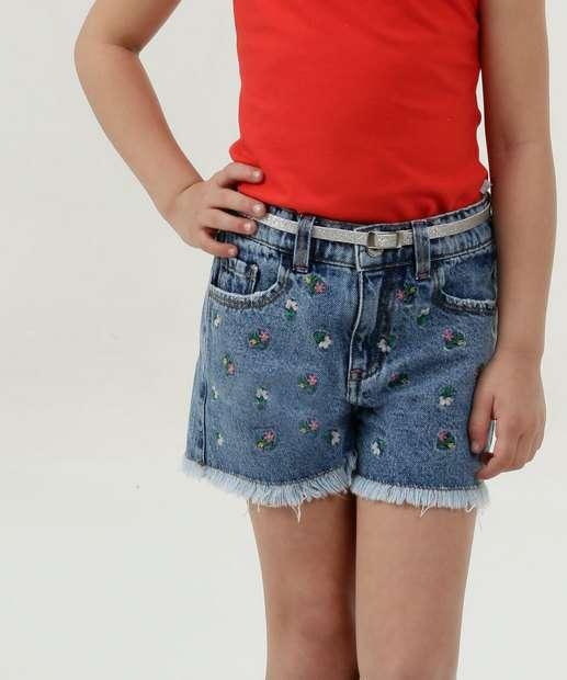 Image_Short Infantil Jeans Estampa Floral Marisa