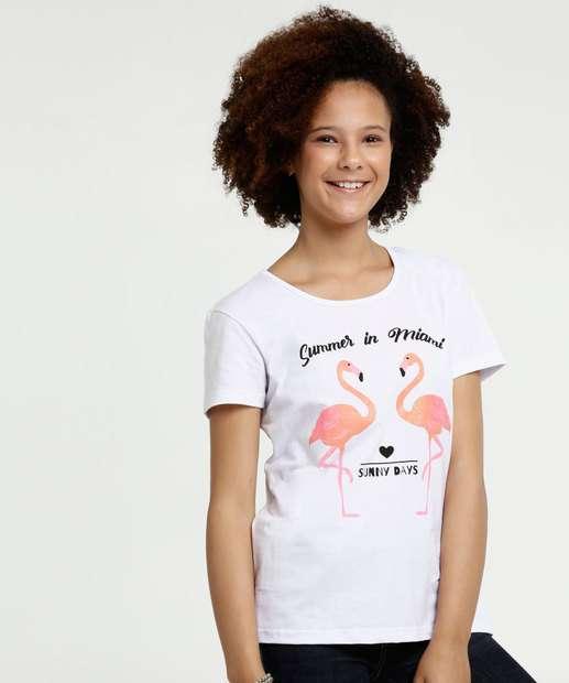 Image_Blusa Juvenil Estampa Flamingo Glitter Manga Curta Marisa