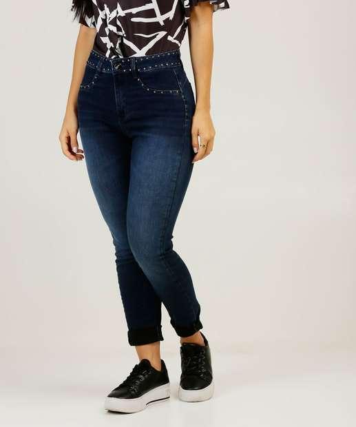 Image_Calça Jeans Skinny Feminina Tachas Cintura Alta Sawary