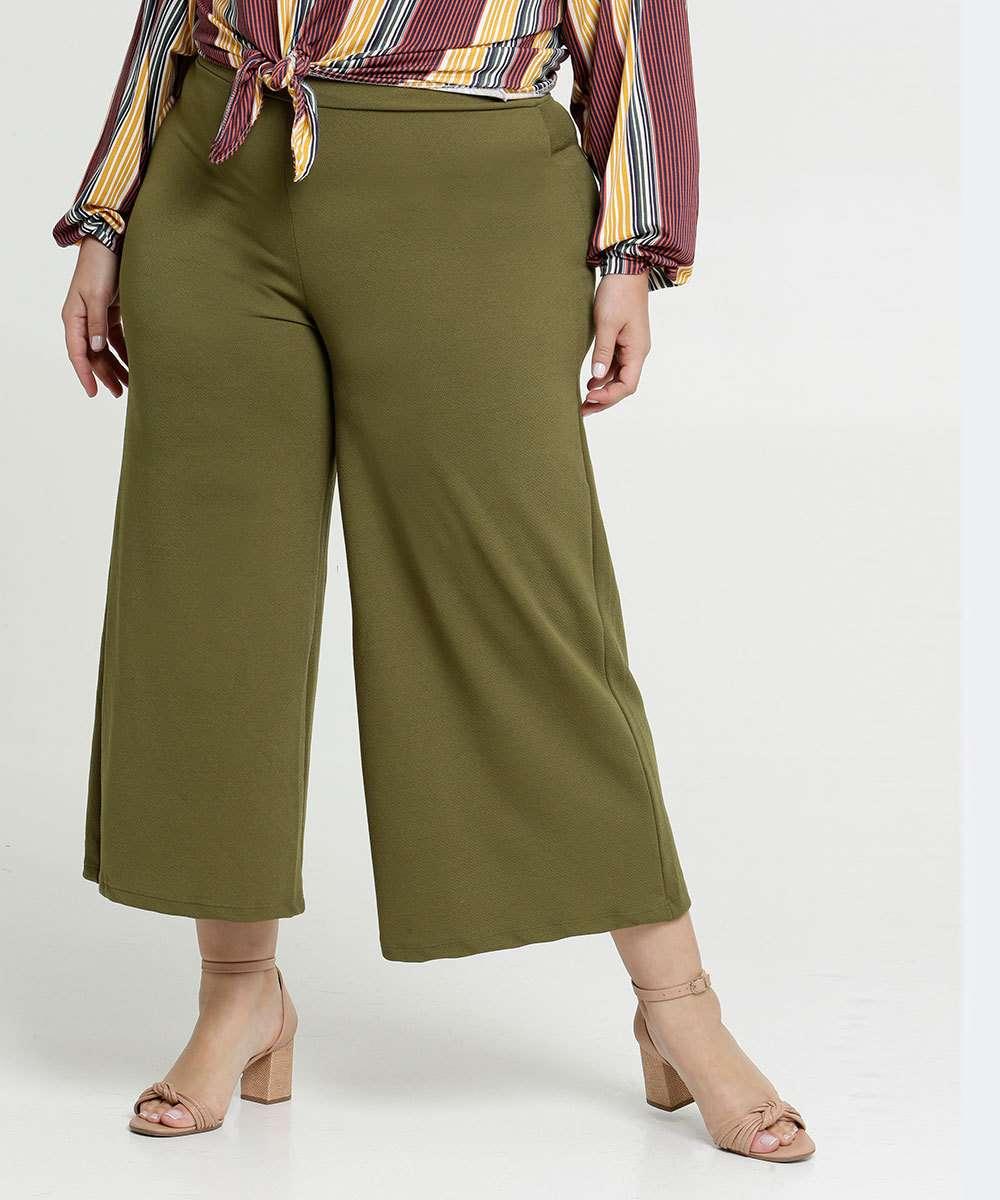 Calça Feminina Pantacourt Textura Plus Size