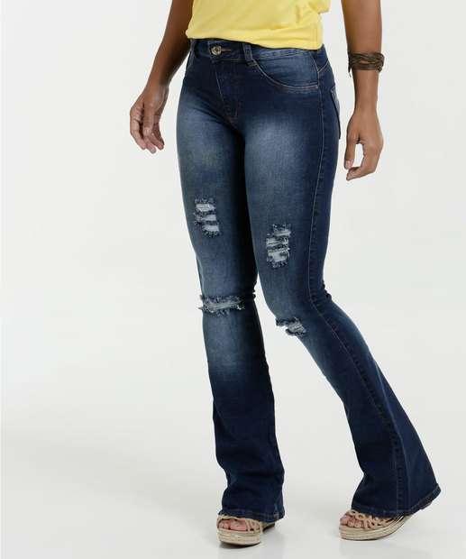 Image_Calça Feminina Jeans Flare Destroyed Cintura Média Biotipo