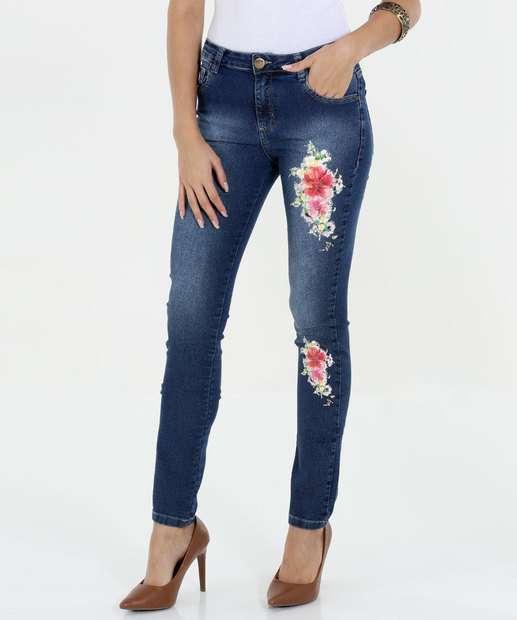 Image_Calça Feminina Skinny Jeans Estampa Floral Marisa