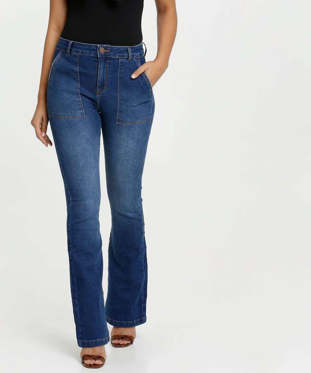 Calça Feminina Jeans Bolsos Flare Marisa