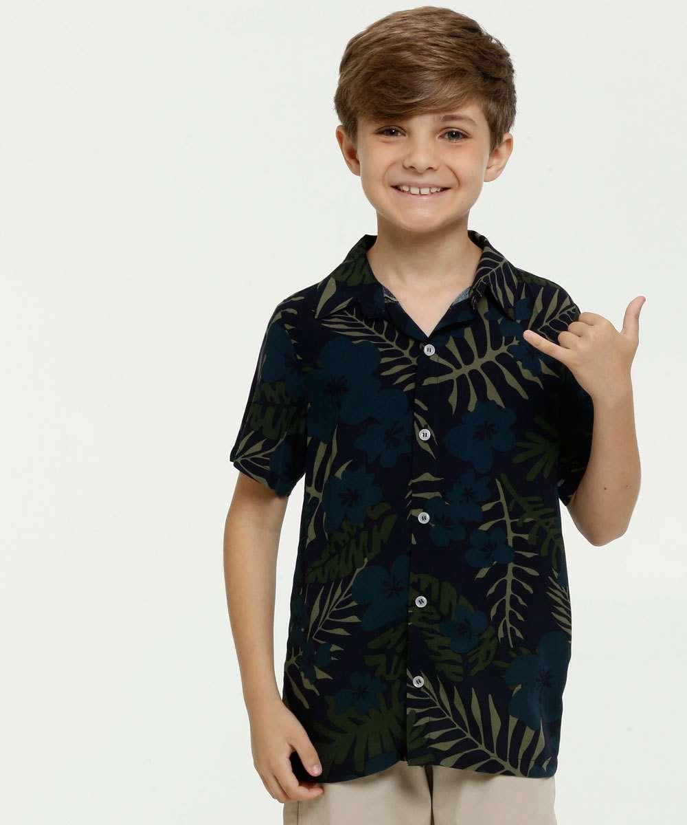 Camisa Infantil Estampa Folhas Manga Curta MR