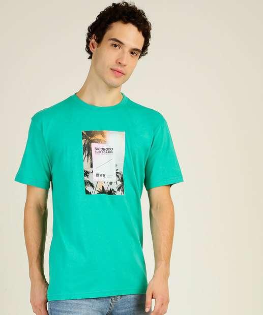 Image_Camiseta Masculina Estampa Coqueiros Manga Curta Nicoboco