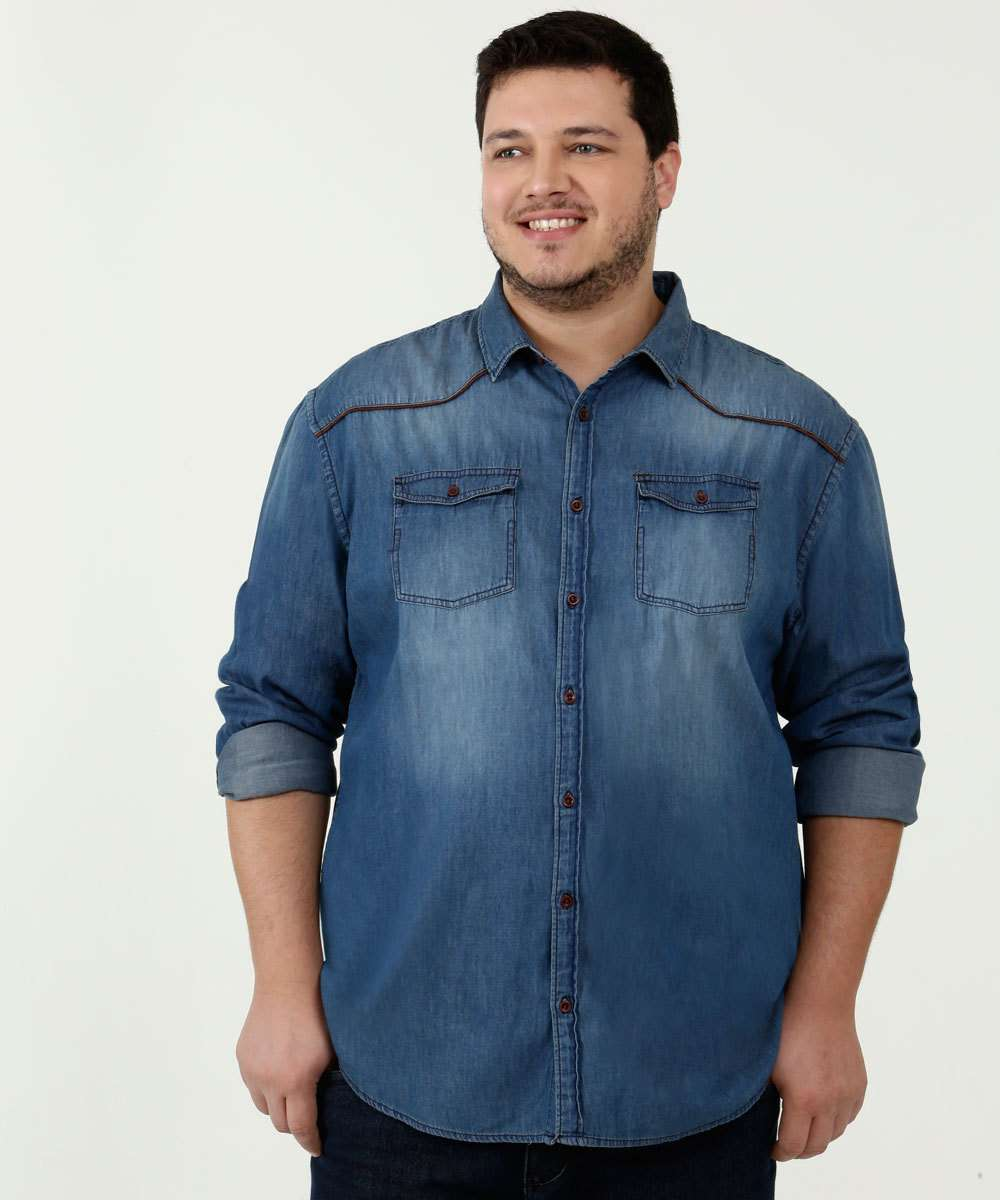 Camisa Masculina Jeans Plus Size Barcly