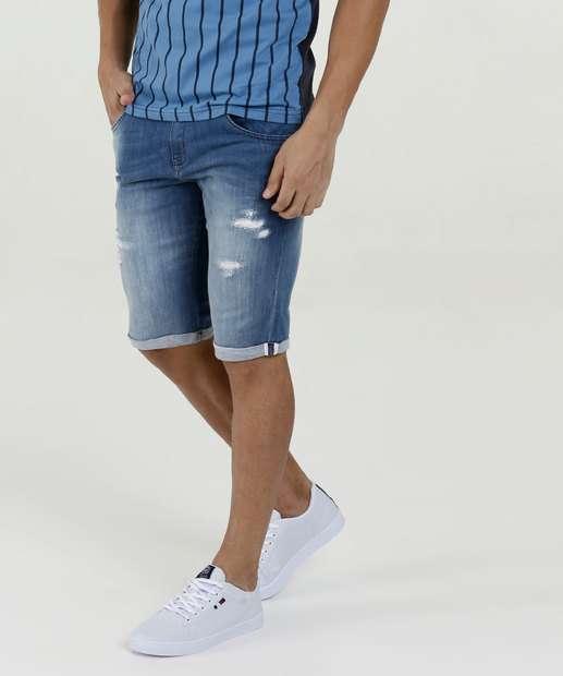 Image_Bermuda Masculina Jeans Puídos Rock & Soda