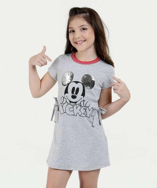 Image_Vestido Infantil Estampa Mickey Paetes Manga Curta Disney