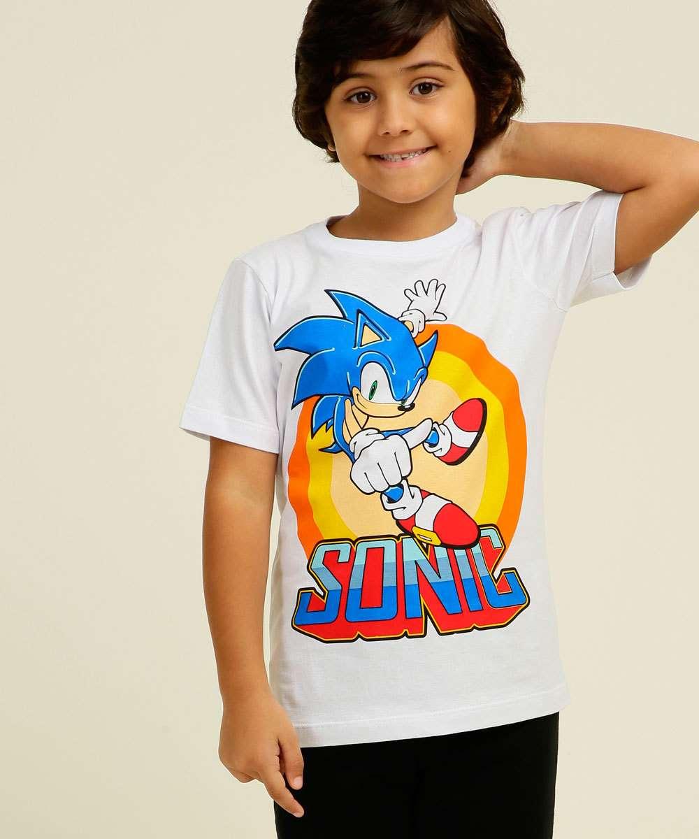 Camiseta Infantil Manga Curta Estampa Sonic MR Tam 4 a 10