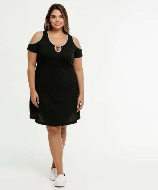 Image_Vestido Feminino Open Shoulder Canelado Viés Plus Size