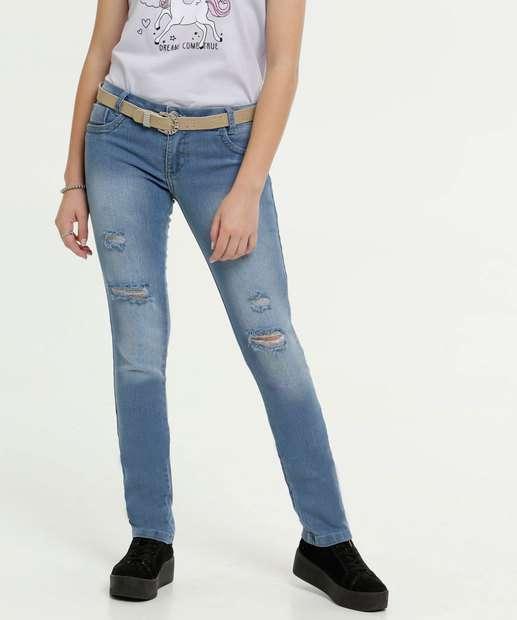 Image_Calça Juvenil Jeans Skinny Stretch Destroyed