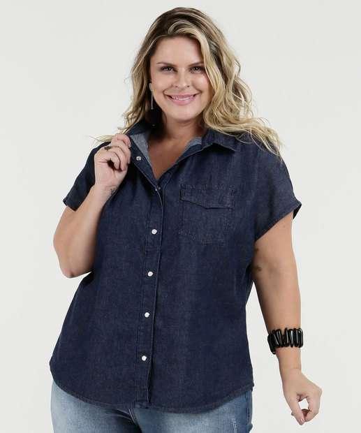 Image_Camisa Feminina Jeans Plus Size Manga Curta Marisa