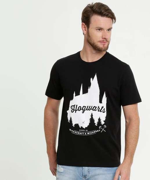 Image_Camiseta Masculina Estampa Hogwarts Manga Curta Warner Bros