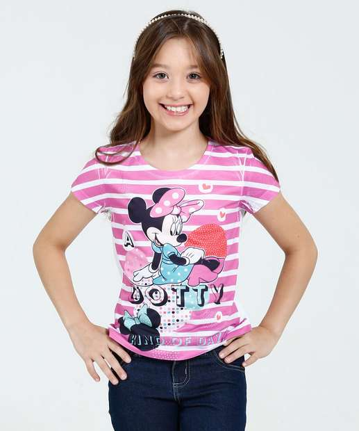 Image_Blusa Infantil Listrada Minnie Manga Curta Disney