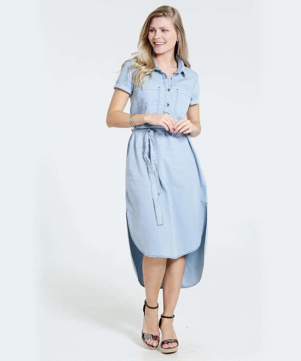 3d808e2ca Vestido Feminino Midi Jeans Manga Curta Marisa | Menor preço com cupom