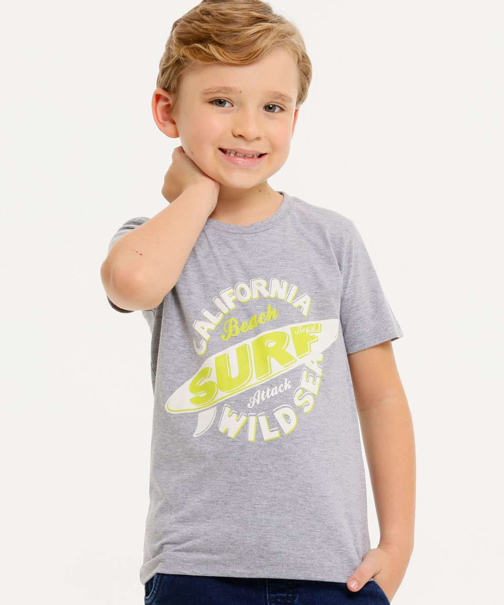 Camiseta Infantil Manga Curta Estampa Frontal MR Tam 4 a 10