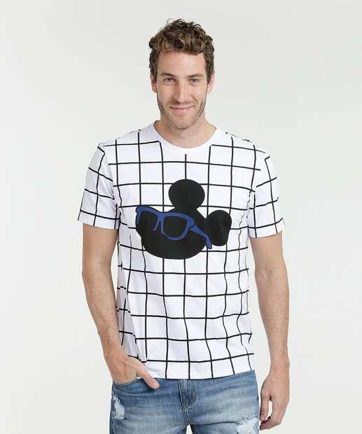 Image_Camiseta Masculina Estampa Quadriculada Mickey Manga Curta Disney