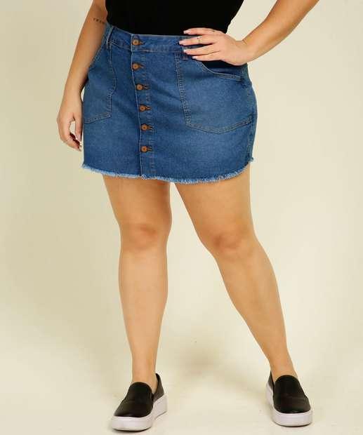 Image_Short Saia Plus Size Feminino Jeans Botões