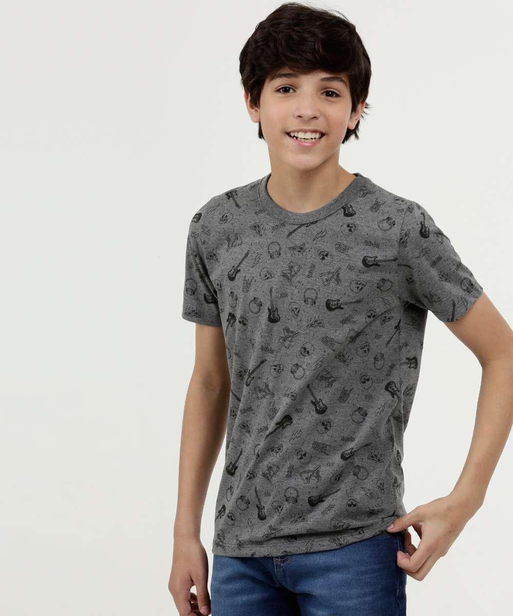 Camiseta Juvenil Estampada Manga Curta