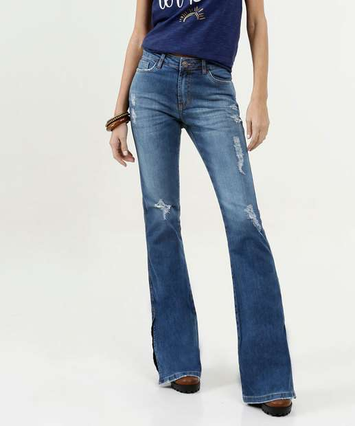 Image_Calça Feminina Flare Destroyed Five Jeans