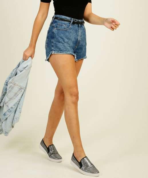 Image_Short Jeans Feminino Cintura Alta Barra Desfiada Marisa