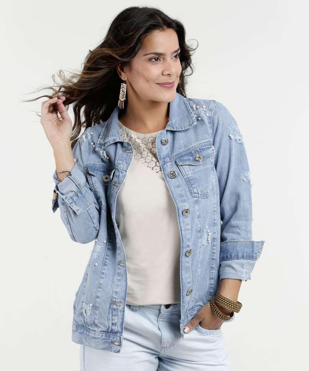 a25d6c6fa Jaqueta Feminina Jeans Puídos Pérolas Biotipo   Marisa