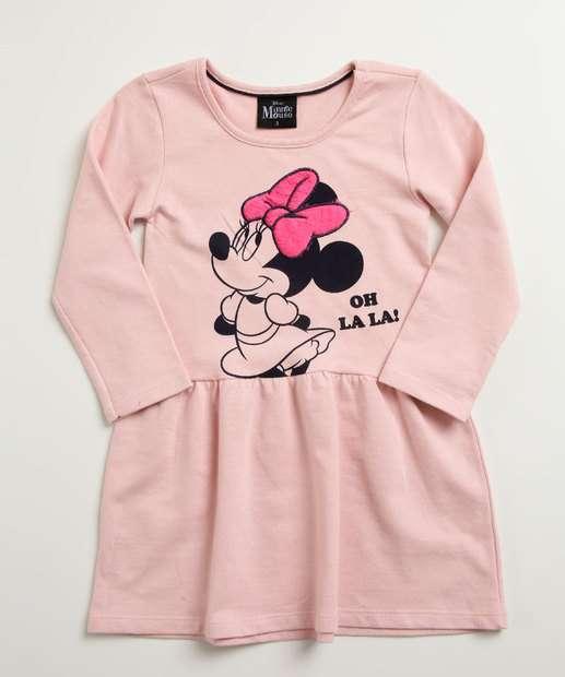 e114fcb4c Vestido Infantil Estampa Minnie Manga Longa Disney