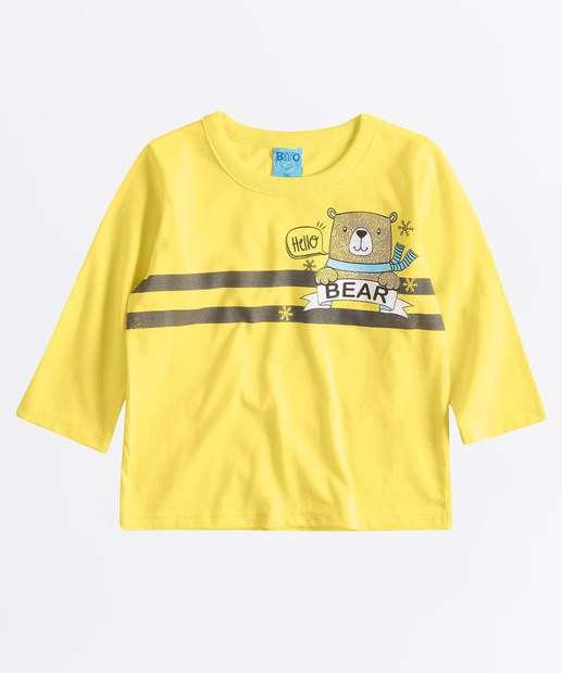 Image_Camiseta Infantil Estampa Urso Manga Longa