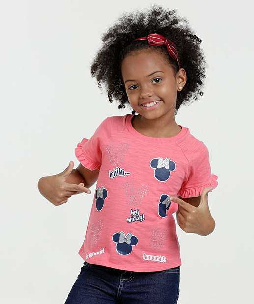 Image_Blusa Infantil Estampa Minnie Strass Manga Curta Disney