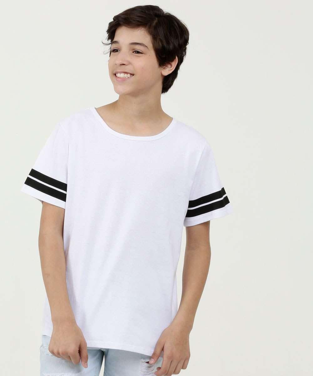 Camiseta Juvenil Estampa Listra Manga Curta