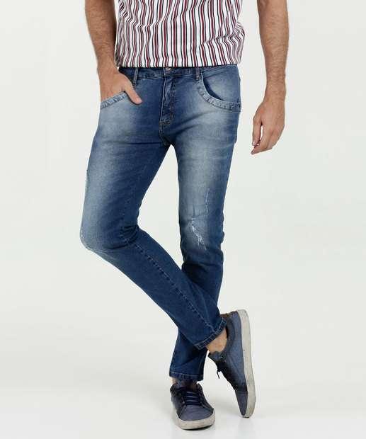 c72c4ba30 Calça Masculina Jeans Skinny Puídos MR