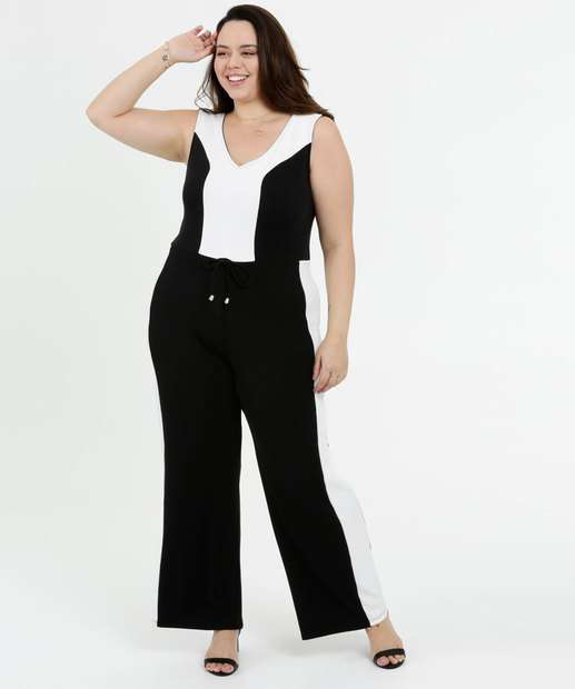 Image_Macacão Feminino Bicolor Pantalona Plus Size Sem Manga