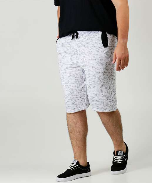 Image_Bermuda Masculina Moletom Mescla Bolsos Plus Size