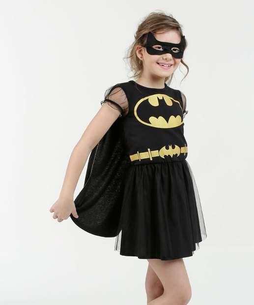 Image_Vestido Infantil Batman Manga Curta Brinde Máscara Liga da Justiça